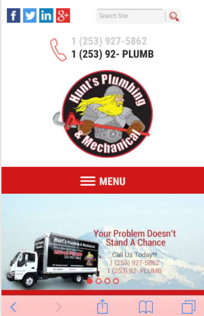 Hunts Plumbing Wordpress Responsive Site