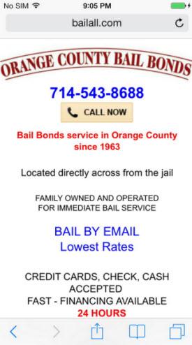 Orange County Bail Bonds Dynamic Mobile Site