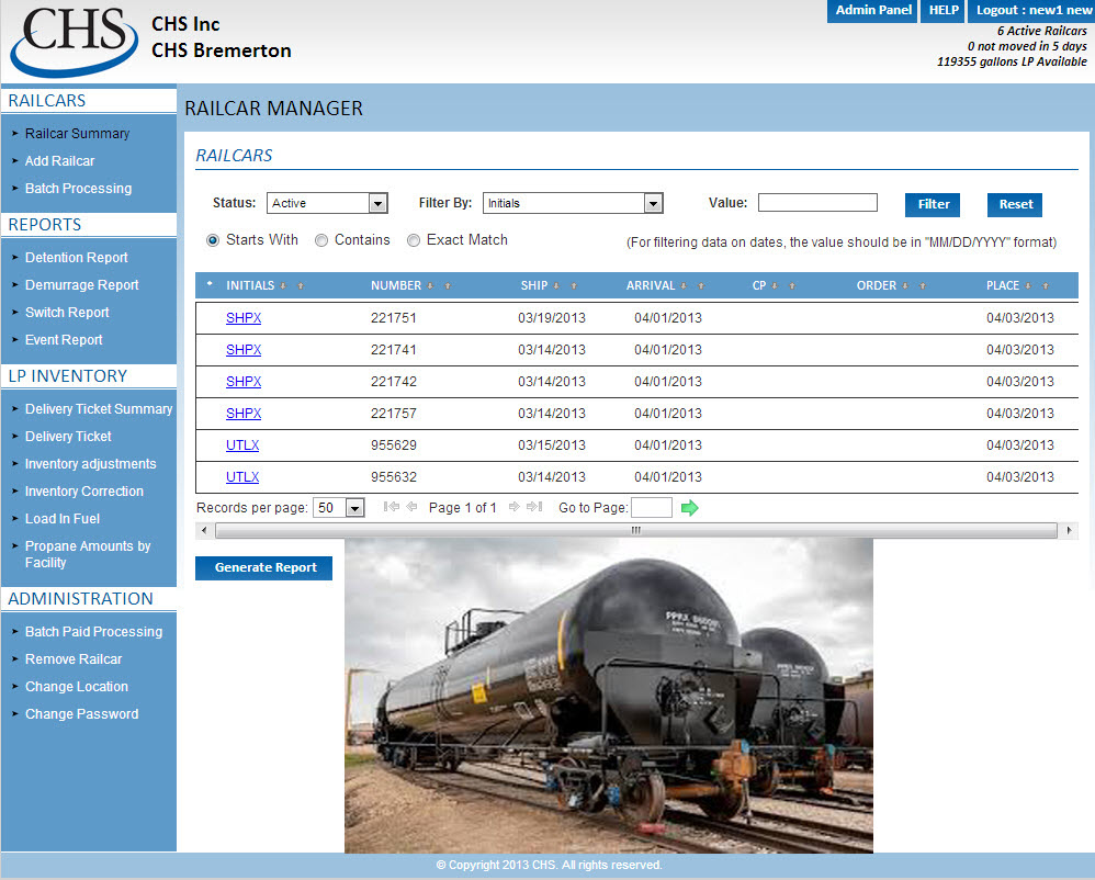 CHS Railcar Fuel Delivery Management System