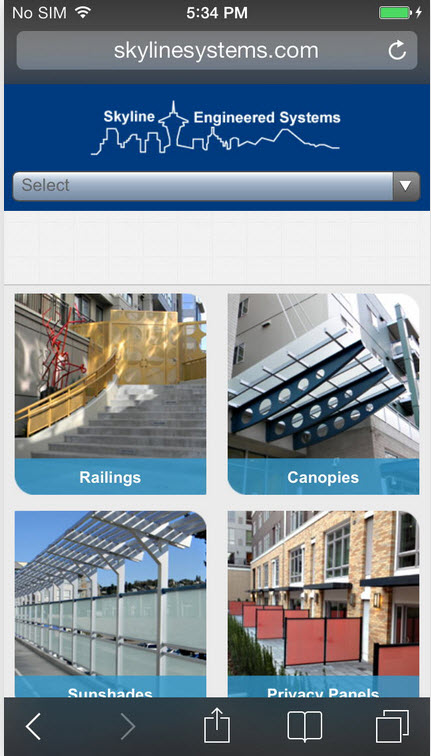 Skyline Systems Custom Mobile Site